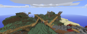 In the foreground is Jon's castle being built. To the right, B.T.'s Castle, to the Left of the Bridge system was the Village on the Mountain, and tot he north or further back is where Bart's Castle is. You can still see his first temporary house floating in the sky.