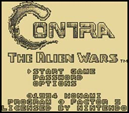 Start Screen gameboy Contra