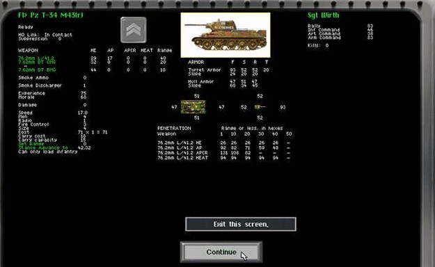 This is from a Steel Panthers game, and you can see that the tank in question has different armor values in the 4 cardinal directions.
